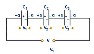 series capacitor voltage combination of capacitors tutorvista