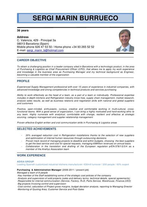 Resume Sample Language Skills by English Cv Sergi Marin