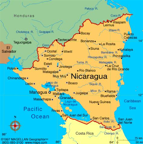where is nicaragua on the world map belize