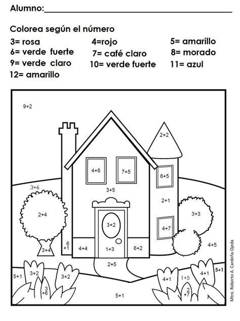 imagenes de actividades matematicas matem 225 ticas sumas dibujos para pintar con sumas