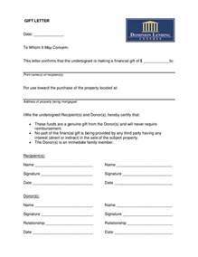 loan gift letter template gift letter sle for money images