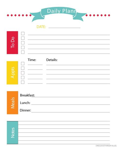 Galerry free printable daily planner excel