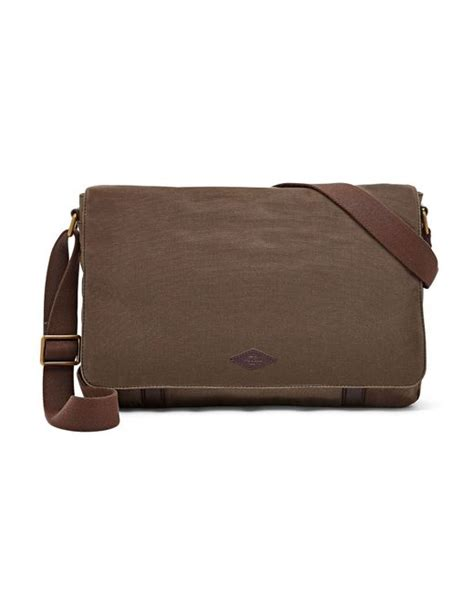 Fussil Womens 2in1 Shoulderbags fossil aiden canvas messenger bag in brown for lyst