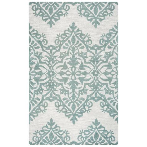 Wool Area Rugs 5 X 8 Rizzy Home Luniccia Green Tufted Wool 5 Ft X 8 Ft Area Rug Lunli951400330508 The Home Depot
