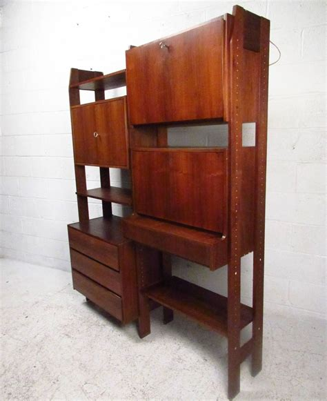 drop down writing desk midcentury wall unit with drop down writing desk for sale