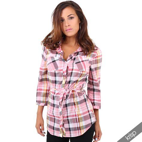 Plaid Blouse womens check plaid lumberjack cotton shirt blouse tunic top summer festival ebay