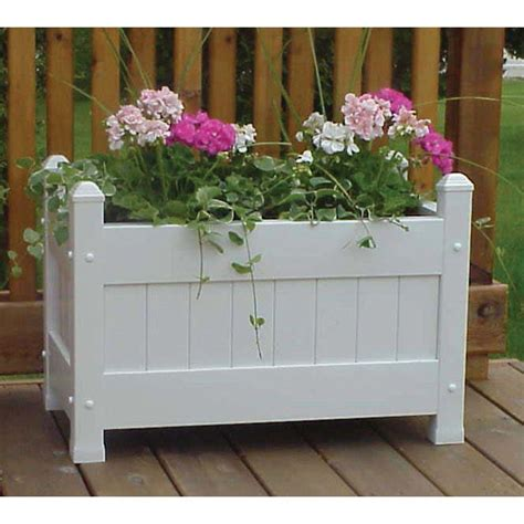 White Planters Home Depot by Dura Trel 28 In X 16 In White Vinyl Planter Box 11124 The Home Depot