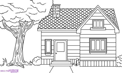 how to draw houses house drawing picture sketch modern house