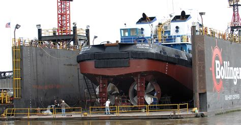 the towboat dolphin i in a floating dry dock on the - Tow Boat On Dry Dock