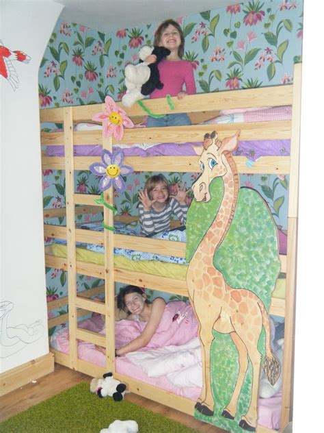 three bed bunk bed triple bunk beds tri bunk bed 3 high bunk beds two widths can be made shorter ebay