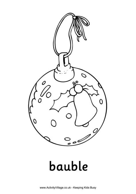 baubles to colour in bauble colouring page