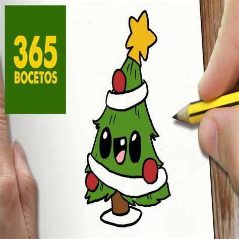 o dibujar arbol navidad kawaii paso a paso dibujos kawaii