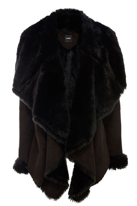 shearling drape coat faux shearling drape jacket black oasis stores