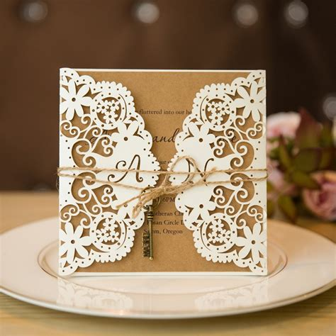 laser print wedding invitations rustic custom laser cut wedding invitations with twine and