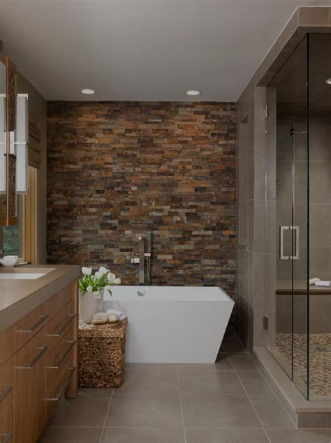 bathroom accent walls ideas bathroom contemporary with pebble tile glass shower partition flat