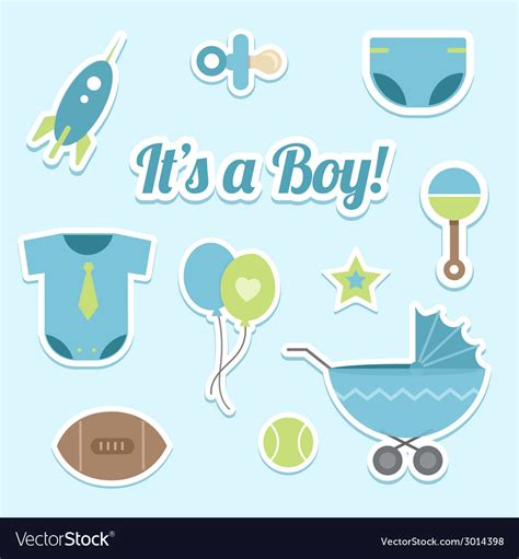 Boy Baby Shower Pics by Baby Boy Shower Stickers Royalty Free Vector Image