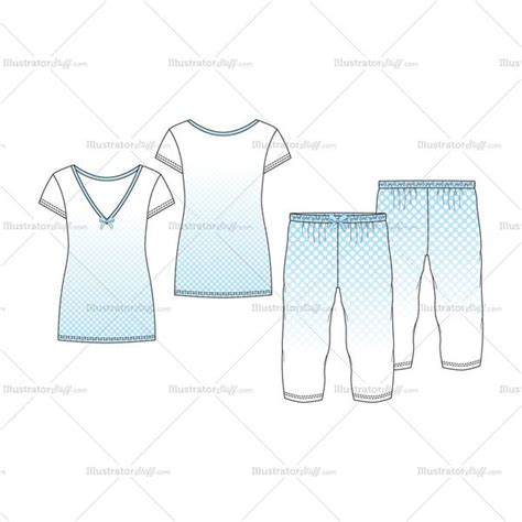 pajama template s v neck nightwear pajama fashion flat template set