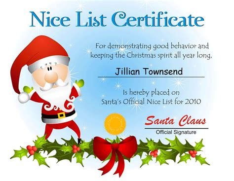 Free Printable Santa Certificate Template free santa list certificate template search results