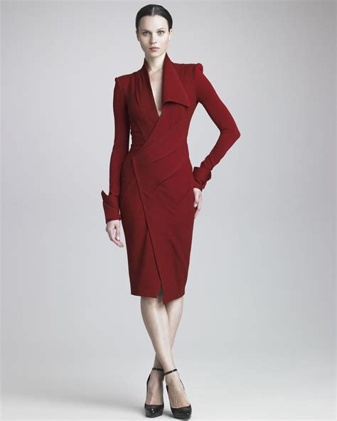 jersey draped dress donna karan new york draped jersey longsleeve dress in red