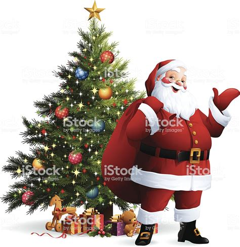 pictures of crismas tree and centaclaus santa claus tree stock vector more images of animal representation 158428956