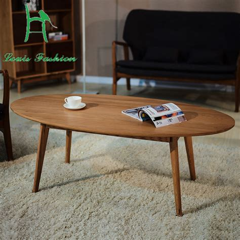 Solid Wood Contracted Nordic Oval Table Japanese Modern Small Oval Coffee Table Wood