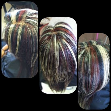 red highlights on black brown blonde hair hair fashion naturally black hair with blonde and red highlights hair