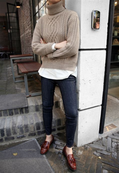 oatmeal colored sweater oatmeal colored sweater with rinse and loafers