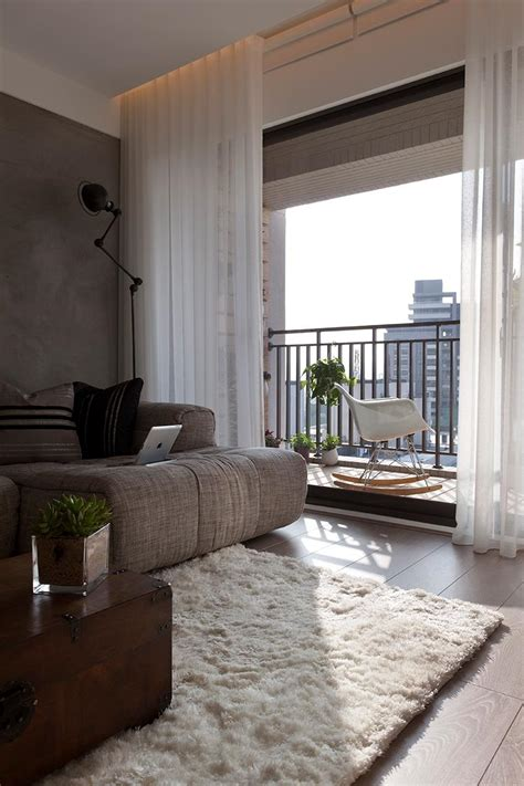 apartment balcony curtains gray white cream living room interior design ideas