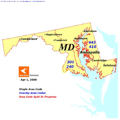 what us area code is 301 maryland