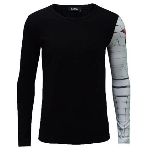 T Shirt New Captain America 05 sleeve t shirt iron arm captain america costume