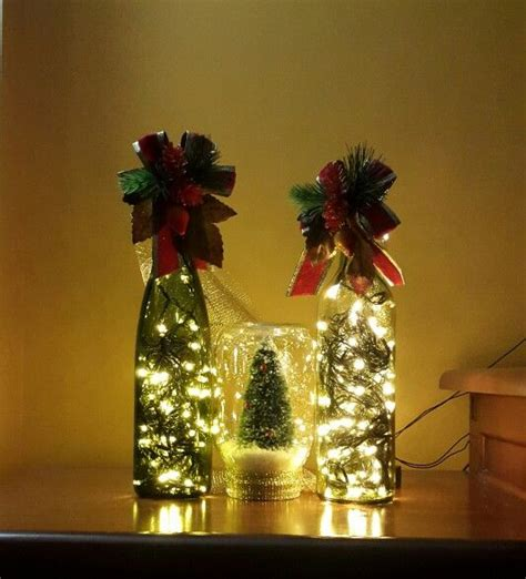 diy christmas decor wine bottle lights and christmas tree