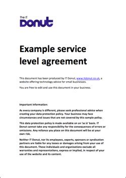 simple service level agreement template exle service level agreement sla
