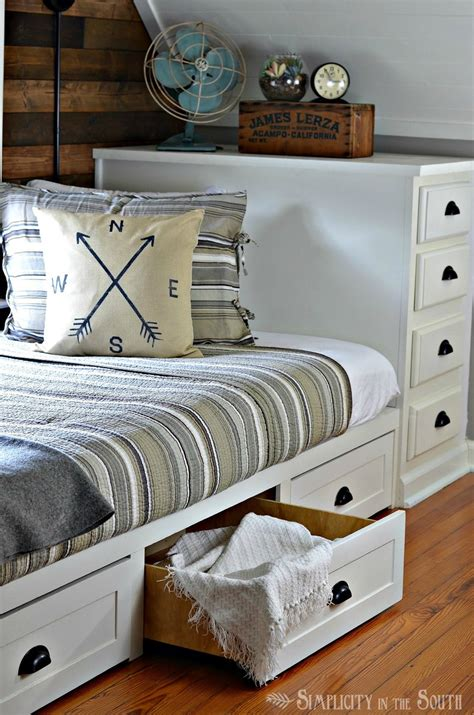 In Bed by White Built In Bed With Trundle Drawers Diy Projects