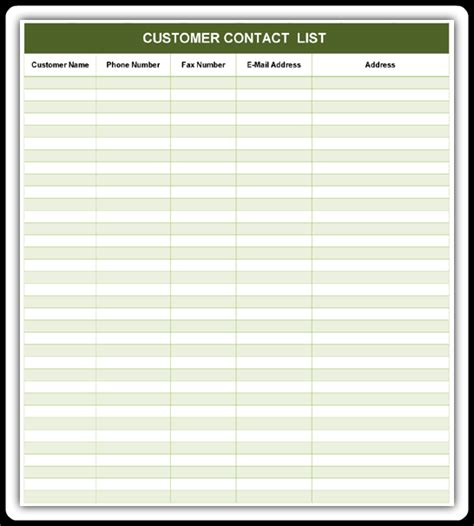 customer list template customer contact list excel word templates