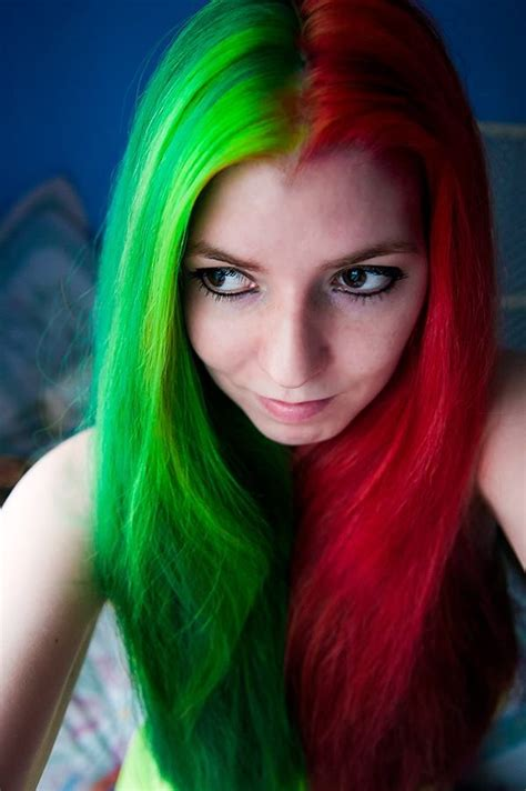 hairstyles color green hair in xmas colors red green