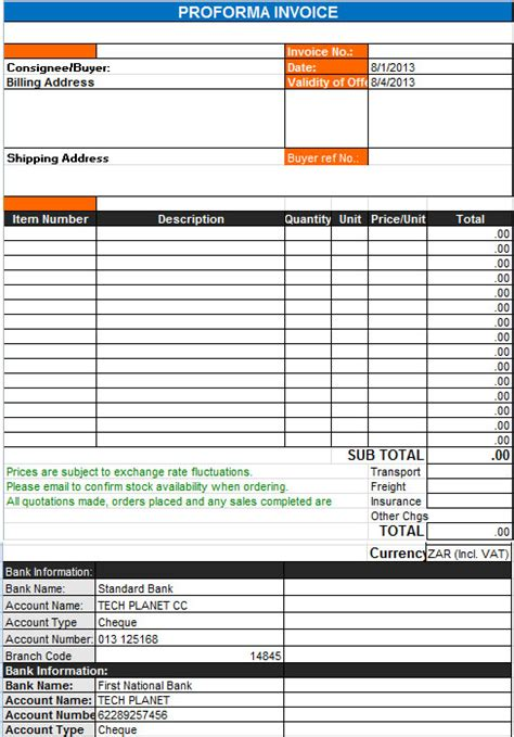 pro forma invoice template proforma commercial invoice template