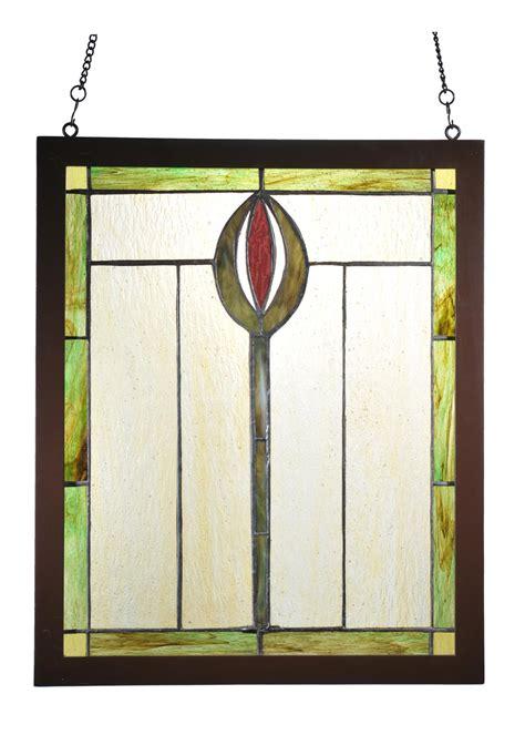 meyda 98100 spear wood frame stained glass window