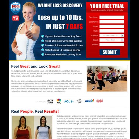 Weight Loss Product Free Trial Landing Page Design Templates Dreamweaver Landing Page Templates Free