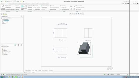 create drawing creo 2 tutorial creating technical orthographic drawing