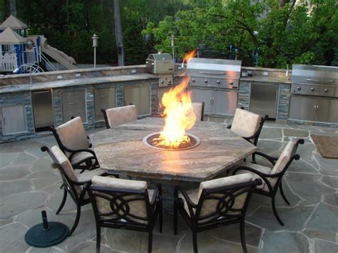 Hexagon Fire Pit Dining Table Closer to coffee table size