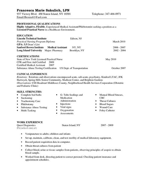 lpn student resume sle entry level lpn resume sle nursing