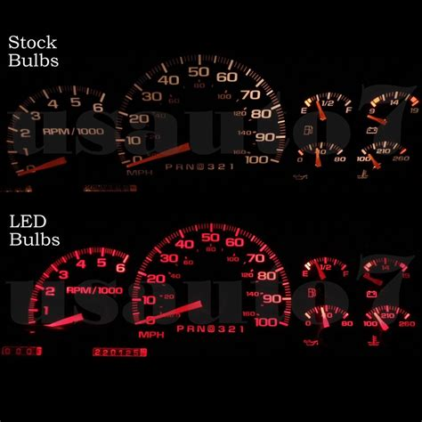 95 chevy truck speedometer new 95 98 chevy silverado dash speedometer cluster gauge red led light bulbs kit ebay