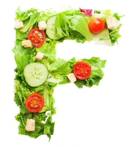 appetizing letter f made with organic vegetables photo