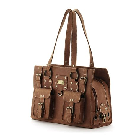 puppy purse cece kent ralph taos brown leather carrier designer pet carriers at glamourmutt