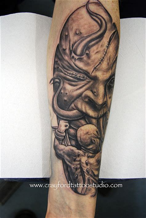 demonic forearm tattoo www facebook com flamingarttattoo