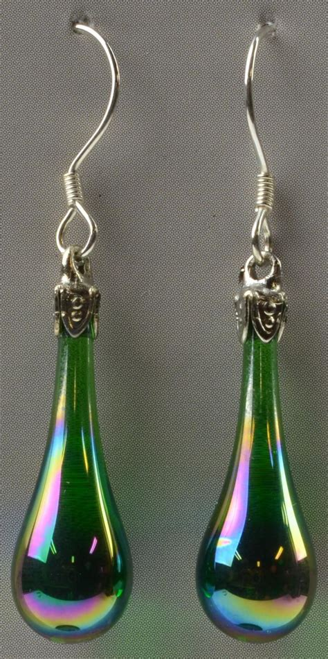 Fenton Handmade Glass - fenton glass teardrop earrings emerald green