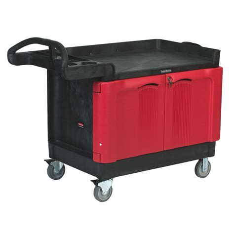 rubbermaid trademaster cart with cabinet rubbermaid 174 trademaster 174 large cart with 2 door cabinet