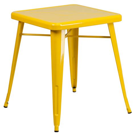 Yellow Bistro Table 23 75 Square Yellow Metal Indoor Outdoor Table Ch 31330 29 Yl Gg Restaurantfurniture4less