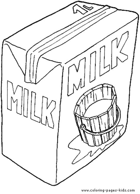 coloring pages of food and drinks milk package color page