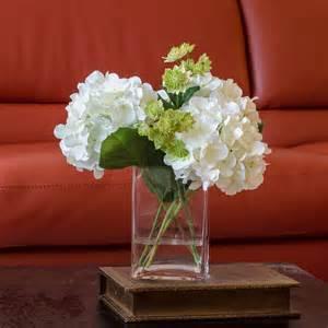 white hydrangea arrangement silk flowers greenery spray